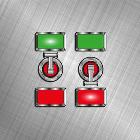 Electric switches with light indicators. Vector illustration.