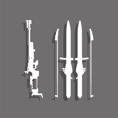 Sports symbol. Biathlon. Vector icon.