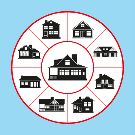 Illustration pour A set of vector icons in the form of a rug diagram on the topic of private houses. Vector illustration. - image libre de droit