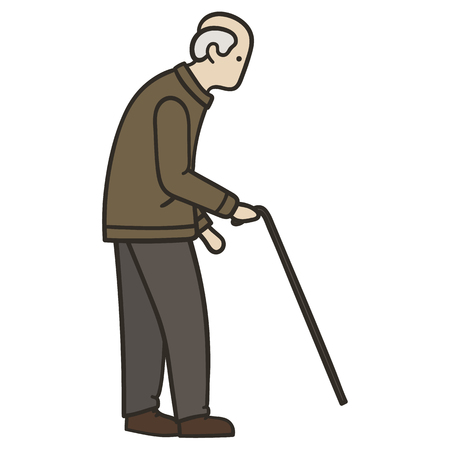 Old man walking alone with a cane