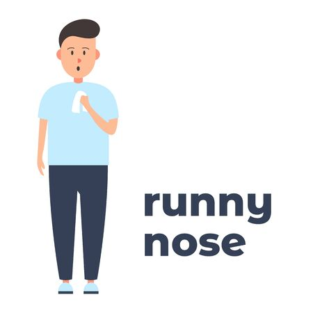 Illustration pour Vector colorful icon of a character with a runny nose because of the infection. It represents a concept of medical protection, virus symptoms, runny nose as a symptom, health safety and virus quarantine - image libre de droit