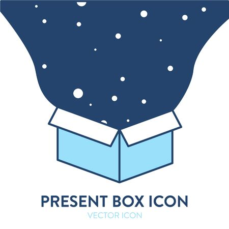 Ilustración de Present box icon. Vector colorful illustration of an open parcel box with abstract dark starry sky comes out of it. - Imagen libre de derechos