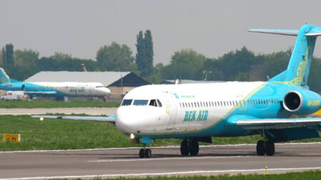 Bek Air Fokker F100 taxiing