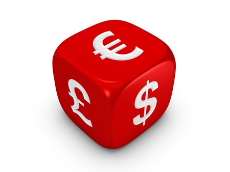 one red dice with dollar euro pound sign isolated on white background
