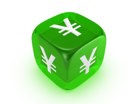 one translucent green dice with yen sign isolated on white background