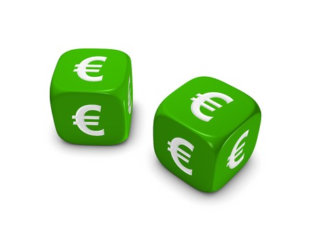 pair of green dice with euro sign isolated on white background