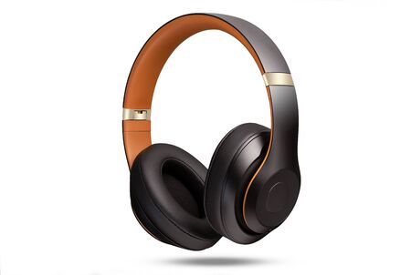 Photo pour High-quality headphones on a white background isolated. Headphone product photo. - image libre de droit