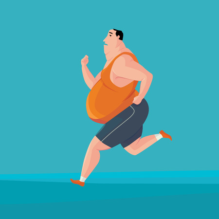 Fat man jogging to lose weight. Vector Illustrator.