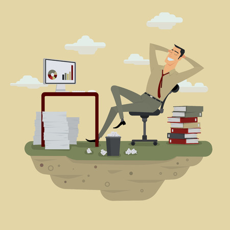 Young businessman in sunny meadow nature office relaxing behind table, vector illustration.