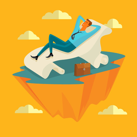 Businessman in the sky position Sleep on a long sheet of paper in peace for any spiritual and inner peace business concepts,vector illustration.