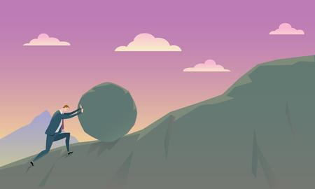 Illustration pour Business Concept of Conquering Adversity businessman pushing a rock uphill. Illustration. - image libre de droit