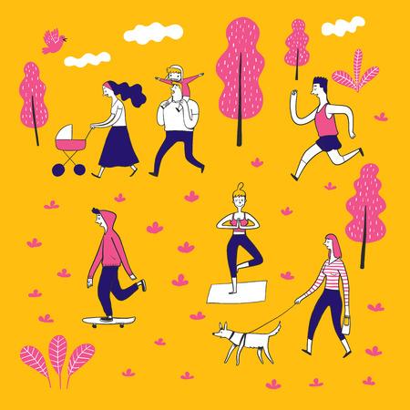 Ilustración de Collection of hand drawn couple in the park. Vector illustrations in sketch doodle style. - Imagen libre de derechos