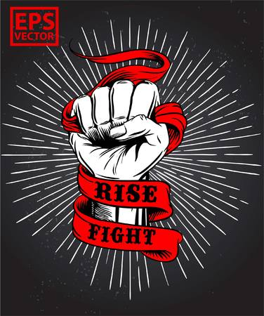 Fist on old ribbon vector