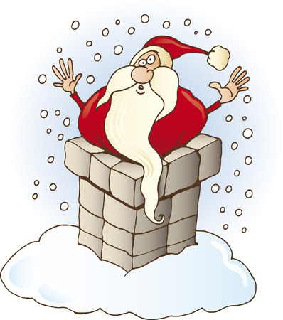 santa claus in chimney
