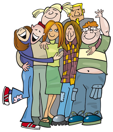 school teens group giving hug