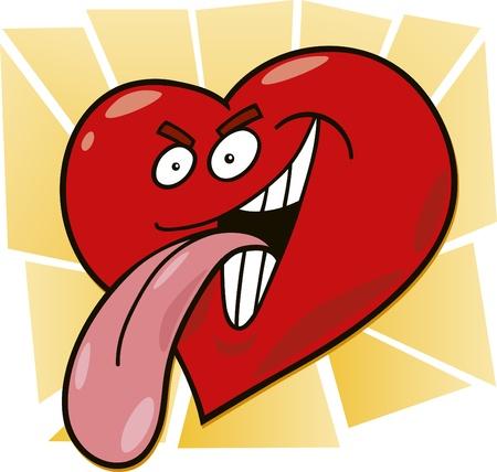 cartoon illustration of malicious heart