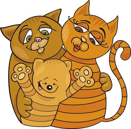Cartoon illustration of happy cats family