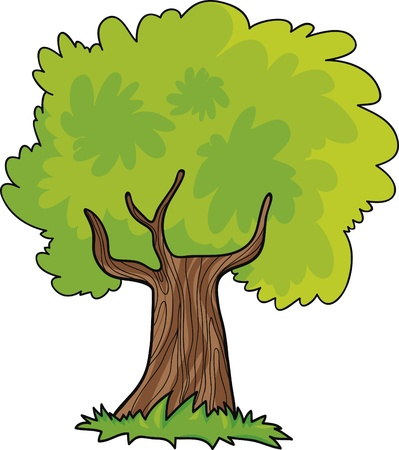 green tree cartoon illustration