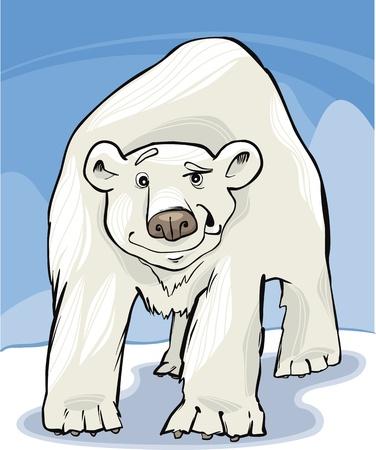 cartoon illustration of funny white polar bear