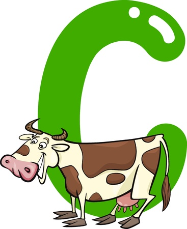 cartoon illustration of C letter for cow