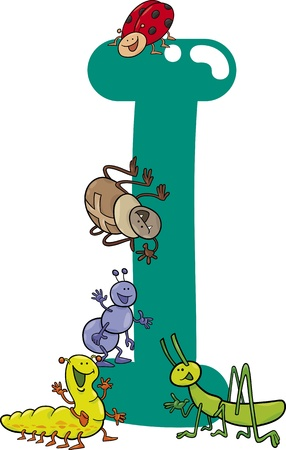 cartoon illustration of I letter for insects