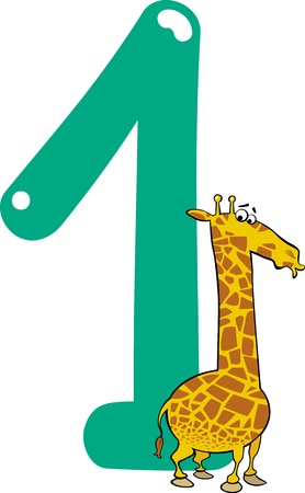 cartoon illustration with number one and giraffe