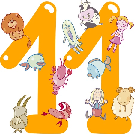 cartoon illustration with number eleven and toys