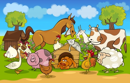 Photo for cartoon illustration of rural scene with farm animals group - Royalty Free Image