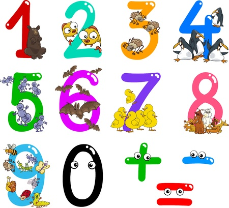 cartoon illustration of numbers from zero to nine with animals