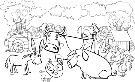 cartoon illustration of farm animals group for coloring book ...