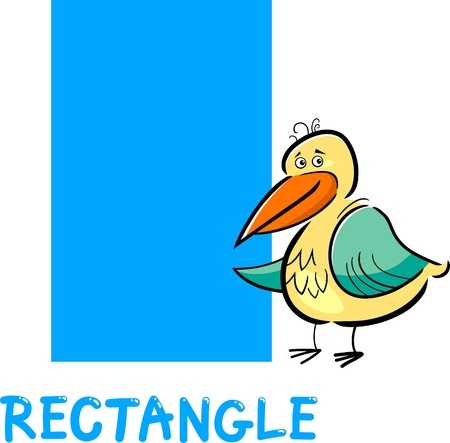 Cartoon Illustration of Rectangle Basic Geometric Shape with Funny Bird Character for Children Education
