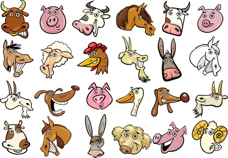 Cartoon Illustration of Different Funny Farm Animals Heads Huge Set