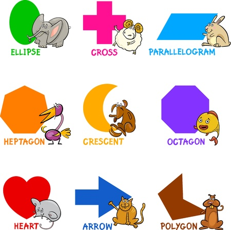 Cartoon Illustration of Basic Geometric Shapes with Captions and Animals Comic Characters for Children Education