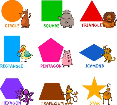 Photo pour Cartoon Illustration of Basic Geometric Shapes with Captions and Animals Comic Characters for Children Education - image libre de droit