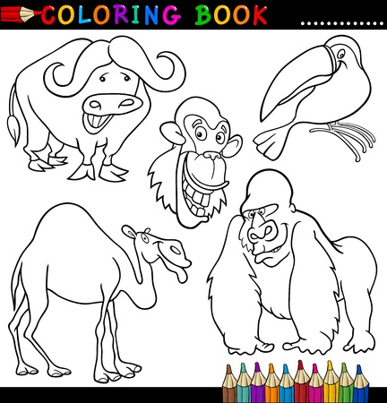 Coloring Book or Page Cartoon Illustration of Funny Wild and ...