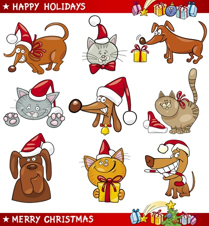 Cartoon Illustration of Christmas Themes with Cats and Dogs set