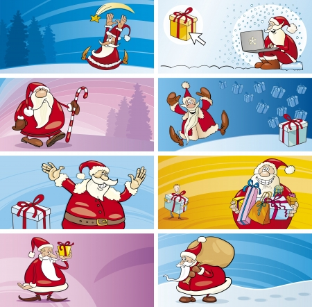 Cartoon Illustration of Greeting Cards with Santa Clauses and Christmas Themes set
