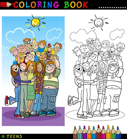 Illustration pour Coloring Book or Page Cartoon Illustration of Happy Boys and Girls Teenagers Group giving a Hug and Laughing - image libre de droit