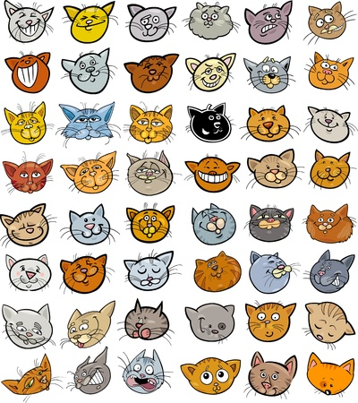 Cartoon Illustration of Different Happy Cats ot Kittens Heads Big Collection Set