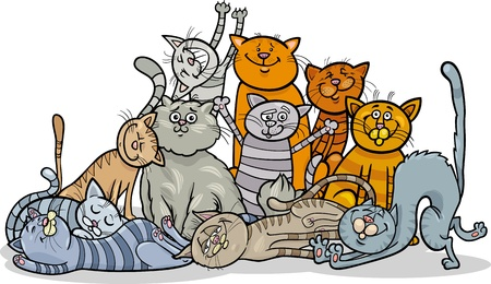 Cartoon Illustration of Happy Cats or Kittens Group