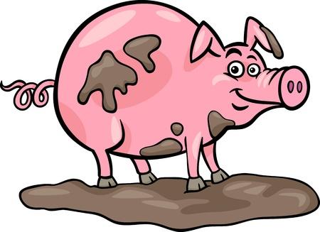 Cartoon Illustration of Funny Pig Farm Animal in Mud
