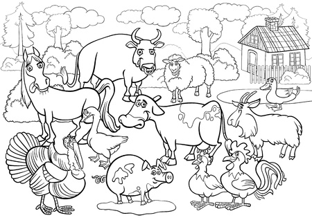 Black and White Cartoon Illustration of Country Scene with Farm Animals Livestock Big Group for Coloring Book