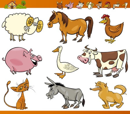 Photo for Cartoon Illustration Set of Cheerful Farm and Livestock Animals isolated on White - Royalty Free Image
