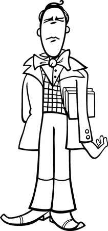Black and White Cartoon Illustration of Funny Poet or Eccentric Man Caricature