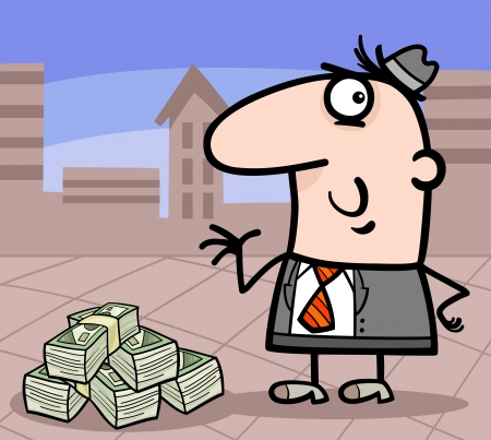 Cartoon Illustration of Man or Businessman with Heap of Money in the City