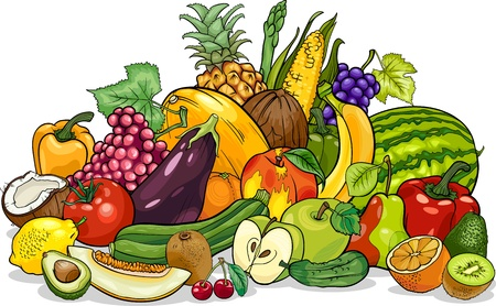 Cartoon Illustration of Fruits and Vegetables Big Group Food Designのイラスト素材