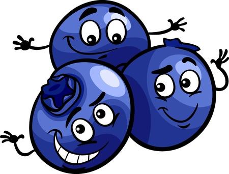 Illustration pour Cartoon Illustration of Funny Blueberry Berry Fruits Food Comic Character - image libre de droit
