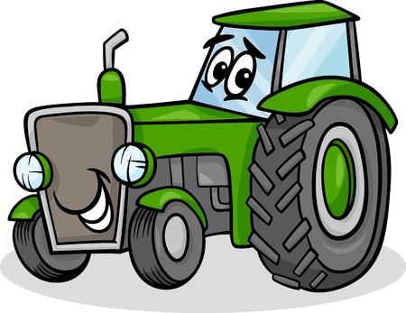 Cartoon Illustration of Funny Farm Tractor Vehicle Comic Mascot Character