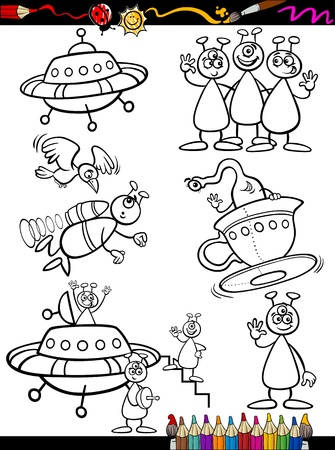 Coloring Book or Page Cartoon Illustration Set of Black and White ...