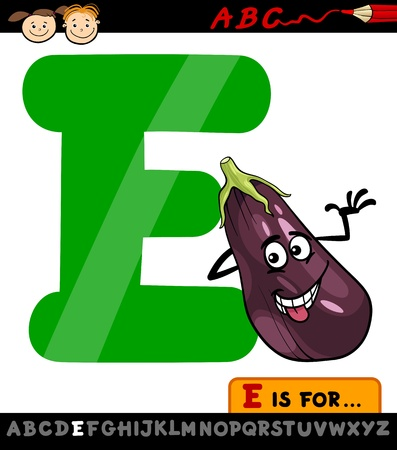 Cartoon Illustration of Capital Letter E from Alphabet with Eggplant for Children Education